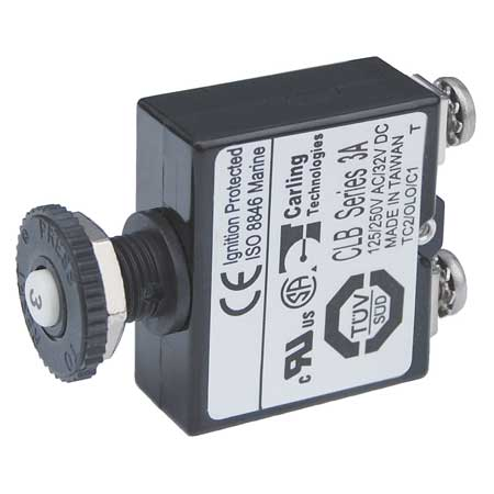 Push Button Reset Only Screw Terminal Circuit Breaker - 3 Amps