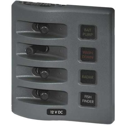 WeatherDeck® 12V DC Waterproof Fuse Panel - Gray 4 Positions