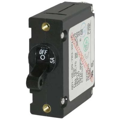 A-Series Black Toggle Circuit Breaker - Single Pole 5A
