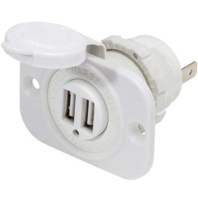 12V DC White Dual USB Charger