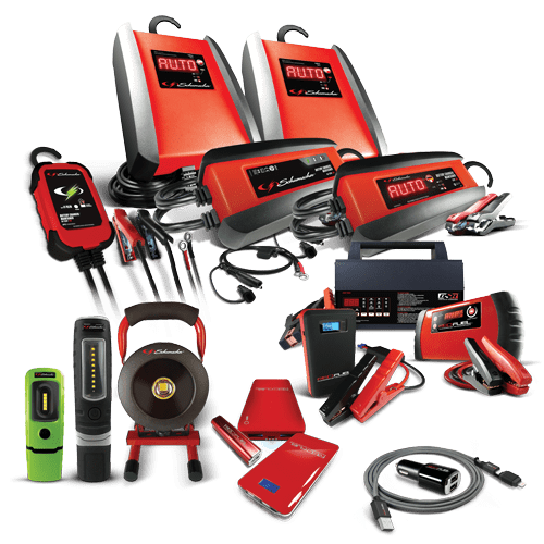 Schumacher Electric range of chargers, jump starters and battery packs.